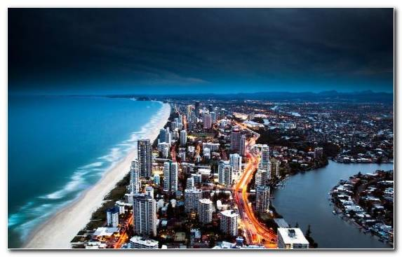 Image Beach Birds Eye View Miami Beach City Night
