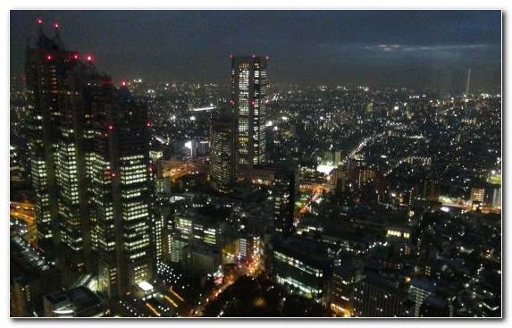 Image Birds Eye View Tokyo Tower Night Roppongi Hills Urban Area