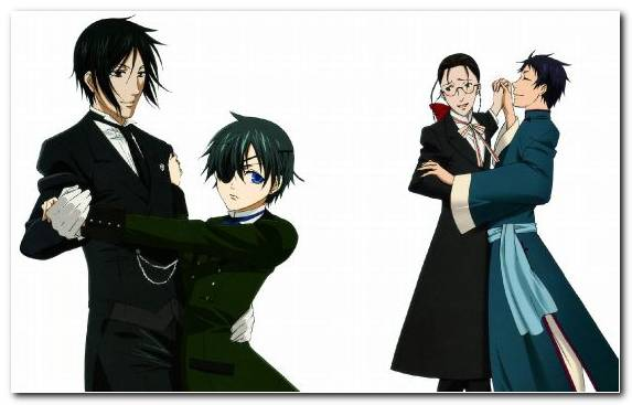 Image Black Hair Formal Wear Interaction Manga Gentleman