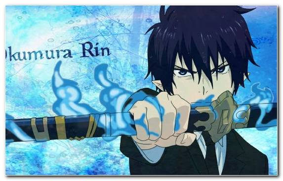 Image Blue Graphic Design Blue Exorcist Illustration Rin Okumura