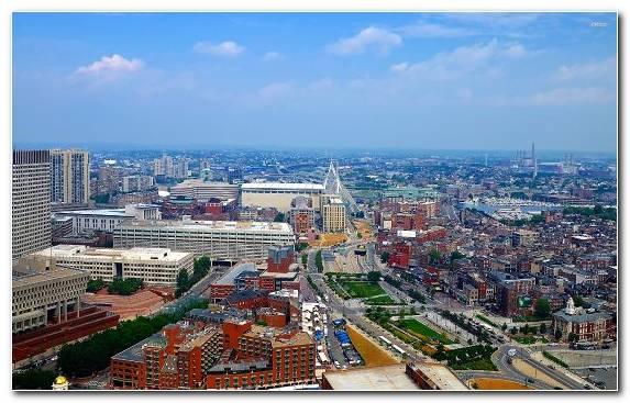 Image Boston Manhattan Urban Area Birds Eye View City