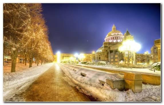Image Boston Sky Winter Town Night