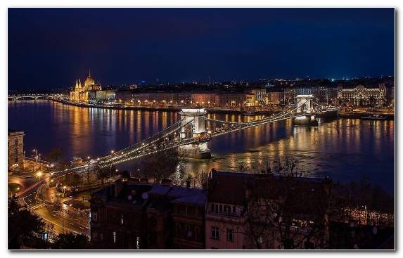 Image Bridge Hungarian Parliament Building City River Body Of Water