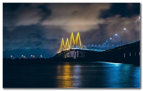Image bridge United States of America cable stayed bridge lighting night