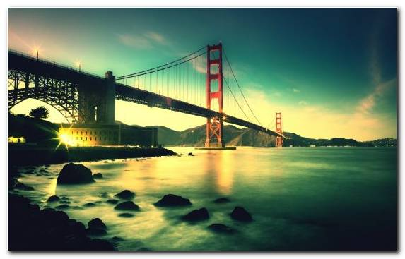 Image Bridge Landmark Golden Gate Bridge Sunset Reflection