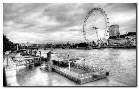 Image Bridge Sky Ferris Wheel Water Waterway
