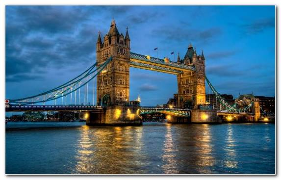Image Bridge Tower Dusk Tourist Attraction City