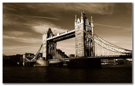 Image Bridge Tower Of London Black And White Suspension Bridge Sky