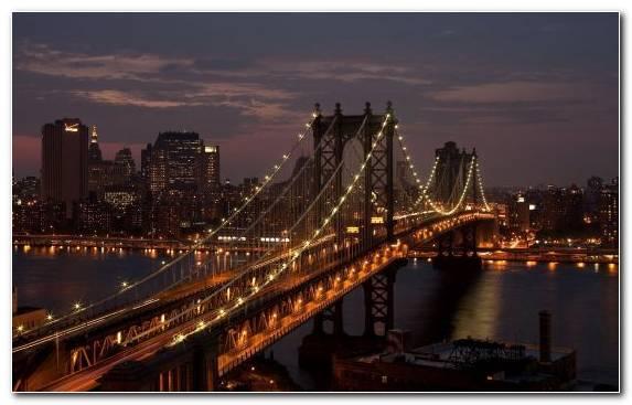 Image brooklyn bridge reflection night body of water suspension bridge