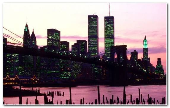 Image Brooklyn Bridge World Trade Center Dusk Skyline Urban Area