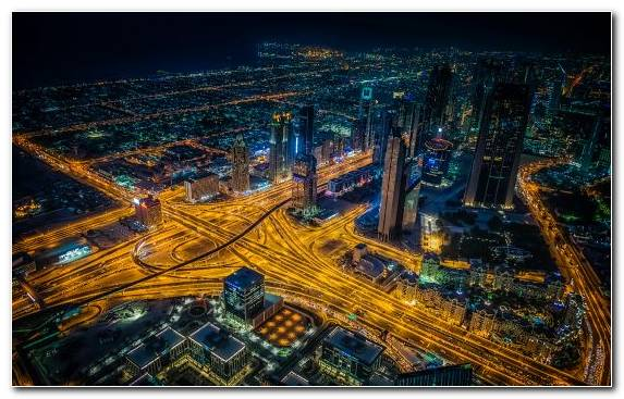 Image Burj Khalifa City Birds Eye View Night Skyscraper