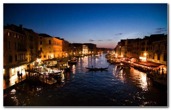 Image Canal Night Town Sunset Waterway