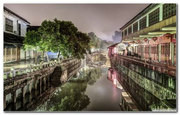 Image Canal Waterway City River Reflection