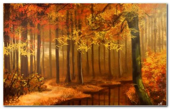 Image Canvas Art Watercolor Painting Autumn Woodland