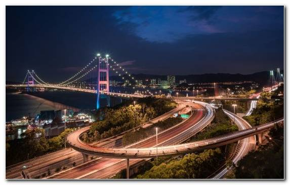 Image Capital City Landmark City Metropolis Tsing Ma Bridge