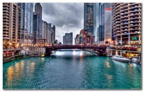 Image Capital City Waterway Cityscape Chicago Skyscraper
