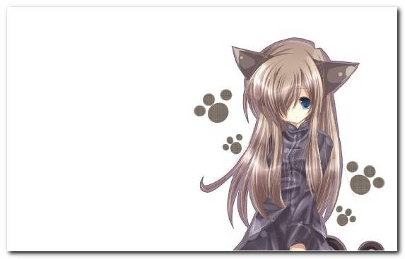 Image cat Kawaii long hair girl anime
