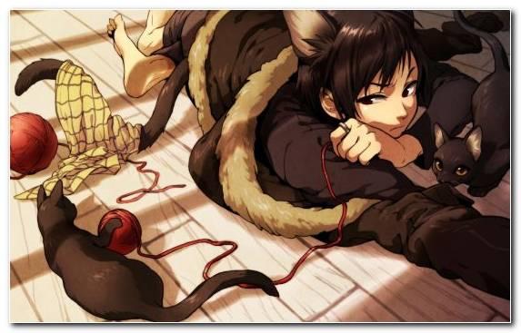 Image Catgirl Mangaka Manga Cartoon Chibi