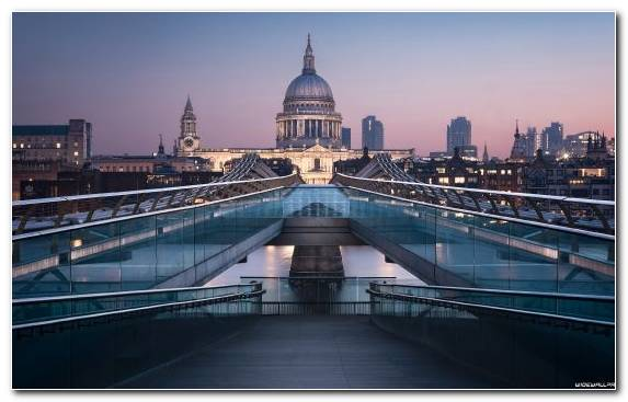 Image Cathedral Millennium Bridge London City Reflection St Pauls Cathedral