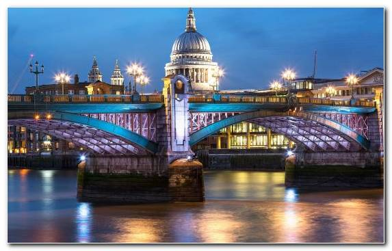 Image Cathedral Tourist Attraction River Thames Cityscape Night