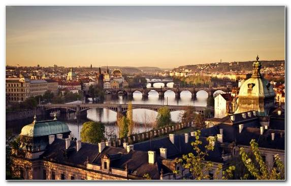 Image Charles Bridge Skyline Horizon Tourist Attraction Capital City
