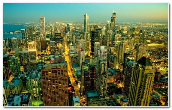 Image Chicago Urban Area Skyscraper City Birds Eye View