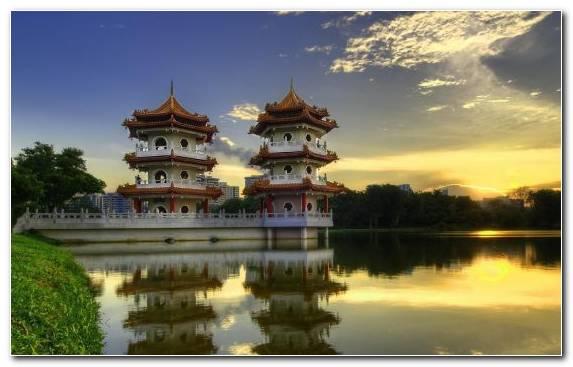 Image Chinese Architecture Reflection Landmark Garden Waterway