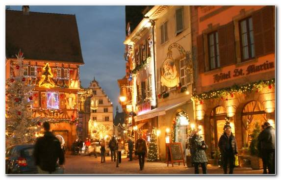 Image Christmas Lights Downtown Black Forest Colmar Film