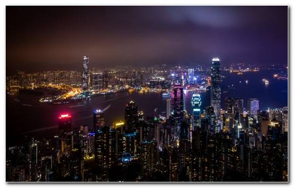 Image City Hong Kong Night Landmark Capital City