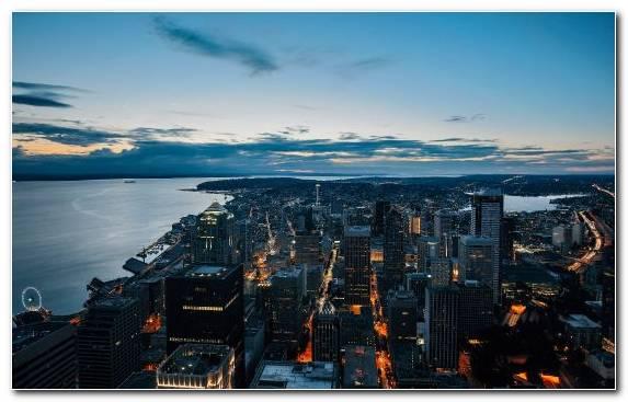 Image City Dusk Sea Cityscape Metropolis