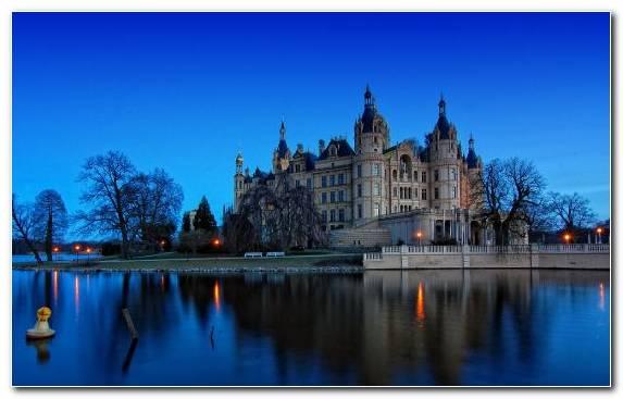 Image city evening water neuschwanstein castle nature