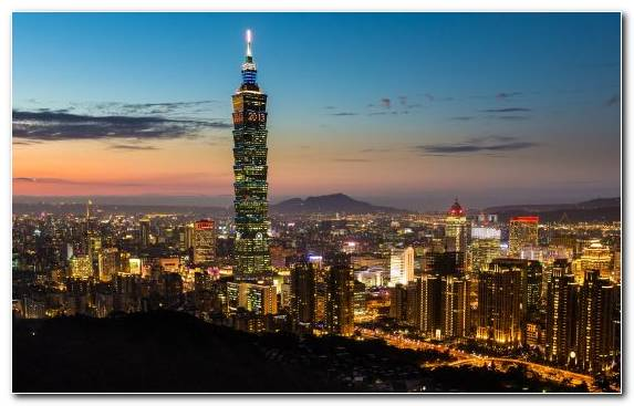 Image City Skyline Sunset Taipei 101 Urban Area