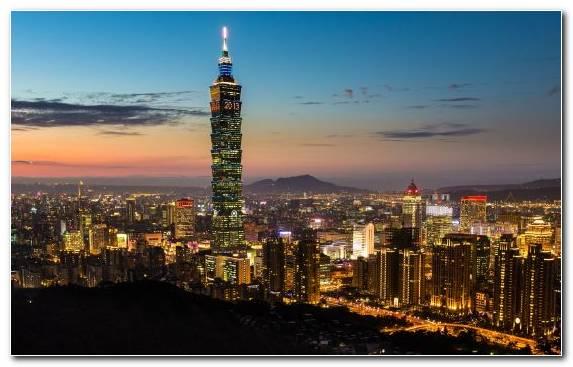 Image City Skyline Sunset Taipei 101 Urban Area