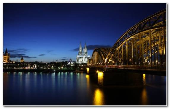 Image City Waterway Cologne Night Body Of Water