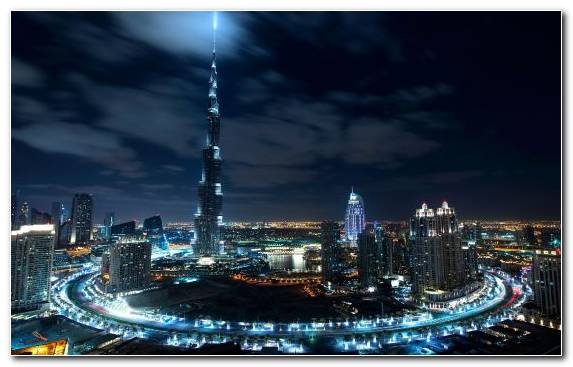 Image Cityscape Burj Khalifa Skyscraper Capital City Night