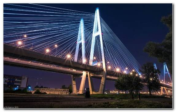 Image Cityscape Cable Stayed Bridge Night Sky Landmark