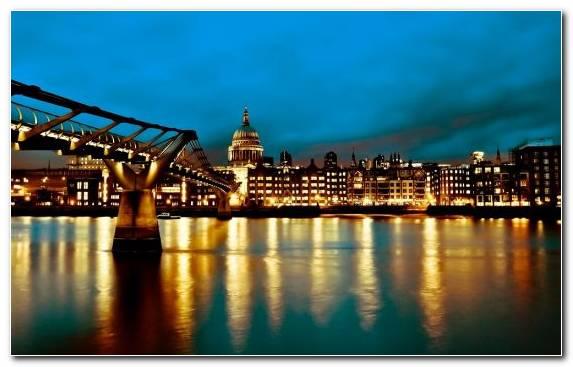Image Cityscape Millenium Bridge Brooklyn Bridge Night Sky