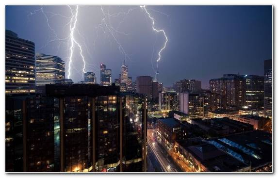 Image Cityscape Night New York City Lightning Strike City