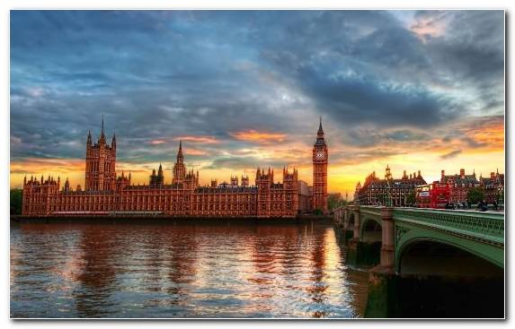 Image Cityscape Palace Of Westminster Sunset Reflection Dusk