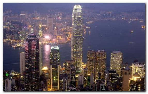 Image cityscape skyline Hong Kong landmark night