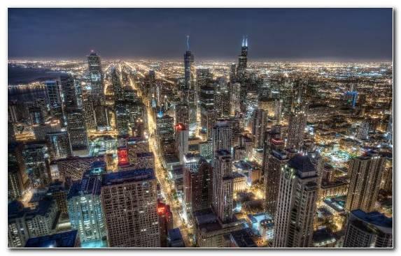 Image Cityscape Skyline Chicago Skyscraper Night