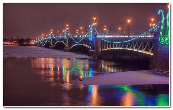 Image Cityscape Winter Bridge River Night