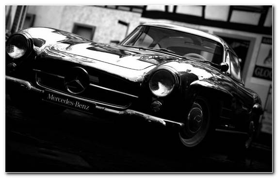 Image Classic Car Mercedes Benz W186 Black And White Mercedes 300sl Mercedes Benz