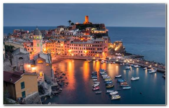 Image Coast Riomaggiore Port Tourist Attraction Evening