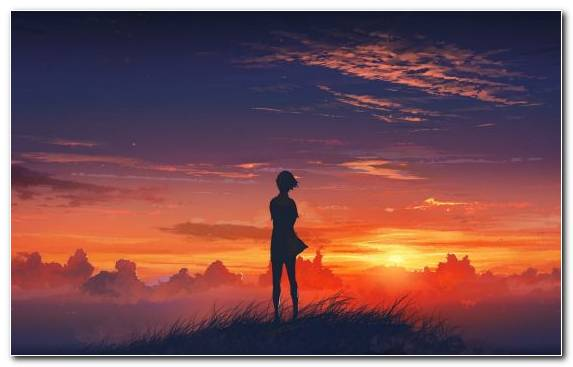 Image Drawing Anime Morning Afterglow Sky