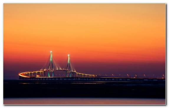 Image Dusk Bridge Water Engineering Korea