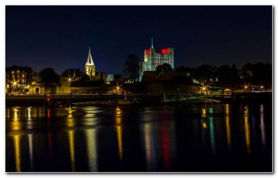 Image England Castle Night Town Landmark