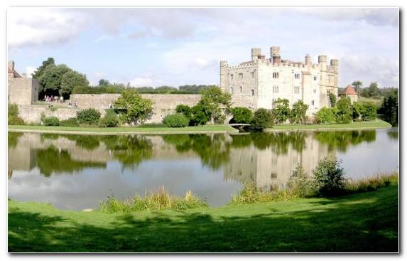 Image Estate Waterway Stately Home Castle Reflection