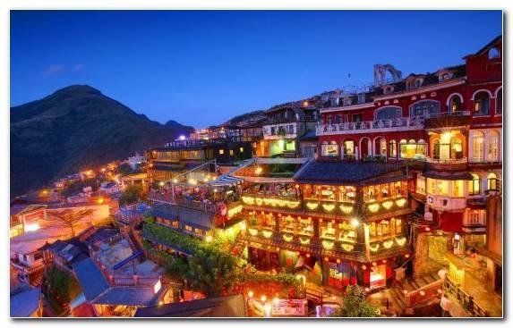 Image Evening Mountain Range Mountain Village Resort Sky
