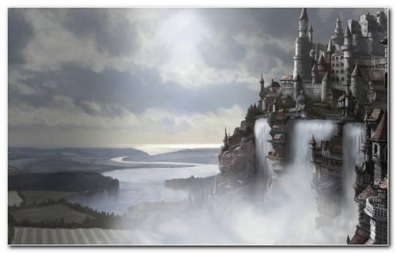Image Fantasy World Art Cloud Waterfall Fantasy